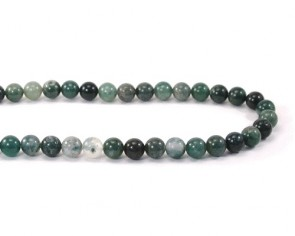 Edelsteinperlen, Achatperlen, Moosachat-Perlen, grün, rund, 8mm, 1 Perlenstrang