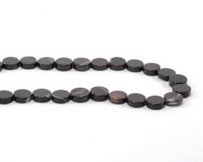 Achat Perlen, schwarz, flach rund, Scheibe, 10 mm, 1 Perlenstrang