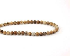 Edelsteinperlen, Landschaftsjaspis, Bilderjaspis-Perlen, rund, 6 mm, 1 Strang