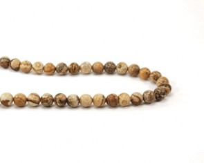 Edelsteinperlen, Landschaftsjaspis, Bilderjaspis-Perlen, rund, 8 mm, 1 Strang