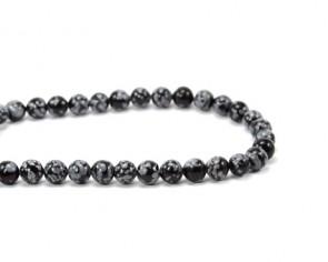 Schneeflocken-Obsidian, Edelstein Perlen, rund, 8 mm, 1 Perlenstrang