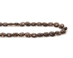 Edelsteinperlen, Rauchquarz Perlen, Scheibe facettiert, 10 x 5 mm, 1 Strang
