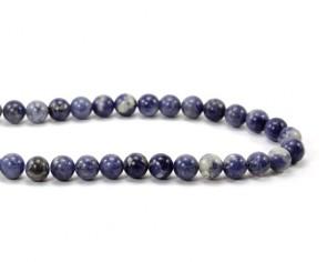 Edelsteinperlen, Sodalith Perlen, rund, 8 mm, blau-weiss, 1 Perlenstrang