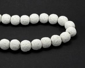 Lava-Perlen, rund, weiss, 14 mm, 1 Perlenstrang