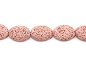 Lavaperlen, Edelsteinperlen, oval flach, rosa, 25 x 20 mm, 1 Lavastrang