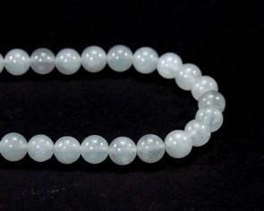 Steinperlen, Milchquarz-Perlen, rund, weiss, 8 mm, 1 Perlenstrang