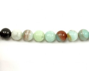 Amazonit Perlen, Edelsteinperlen rund facettiert, hellblau-mehrfarbig, 10 mm, 1 Perlenstrang