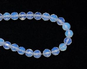 Opalith Mondstein Perlen, 8mm, rund facettiert, 1 Strang