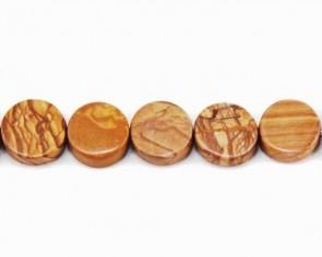 Landschaftsstein Perlen, Edelsteinperlen, Scheiben, braun, 16mm, 1 Perlenstrang