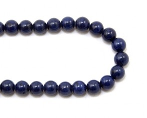 Mashan Jade Perlen, rund, dunkelblau, 8mm, 1 Jadestrang