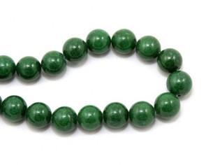 Mashan Jade Perlen, Edelsteinperlen rund, grün, 12mm, 1 Jadestrang