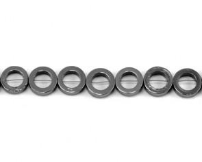 Hämatit Perlen, Donut / Ring, silber-grau, 12mm, 1 Perlenstrang