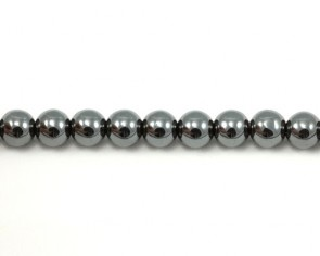 Hämatit Perlen, Edelsteinperlen, rund, silber, 4mm, 1 Perlenstrang
