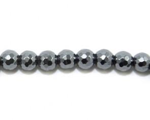 Hämatit Perlen, rund facettiert, dunkles silber, 8 mm, 1 Perlenstrang