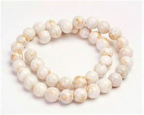 Jade Perlen, Naturstein, rund, creme-weiss / gold gefärbt, 8mm, 1 Strang