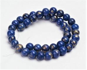 Jade Perlen, Naturstein, rund, lapis-blau / gold gefärbt, 8mm, 1 Strang