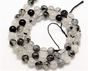 Turmalinquarz-Perlen, rund, schwarz/weiss, 8mm, 1 Strang