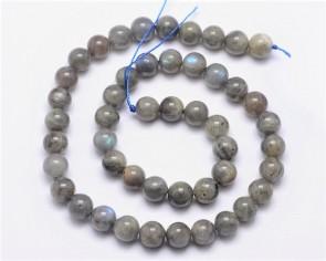 Labradorit Perlen, hellgrau irisierend, rund, 6mm, 1 Strang