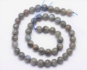 Labradorit Perlen, hellgrau irisierend, rund, 8mm, 1 Strang