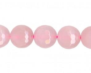 Jade Perlen, rund facettiert, rosa gefärbt, 8mm, 1 Strang
