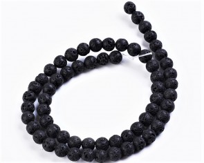 Lava-Perlen, Edelsteinperlen, rund, schwarz, 6mm, 1 Perlenstrang