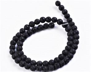 Lava-Perlen, Edelsteinperlen, rund, schwarz, 4mm, 1 Perlenstrang