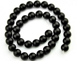 Blackstone Perlen, rund, schwarz, 10 mm, 1 Strang