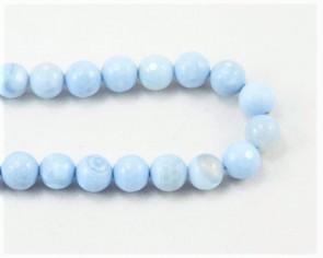 Achat Perlen, rund facttiert, hellblau, ø 8mm, 1 Strang