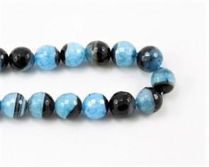 Achat Perlen mit Kristall, rund facettiert, blau / schwarz, 12mm, 1 Strang