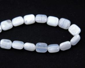 Blaue Chalzedon Perlen, rechteckig, hellblau, 10x8mm, 1 Strang