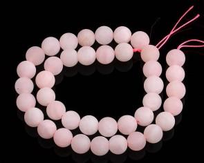 Gefrostete Rosenquarz Perlen, rund, matt rosa, ø 6mm, 1 Strang
