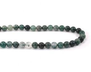 Edelsteinperlen, Achatperlen, Moosachat grün, rund, 4mm, 1 Strang