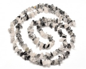 Turmalinquarz Perlen, Naturstein-Splitter, schwarz-weiss, 5-10mm, 1 Strang