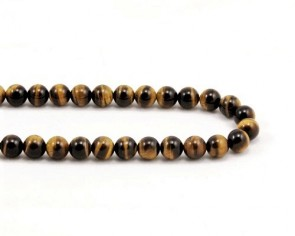 Tigerauge Perlen, rund, gelb-braun, 8 mm, 1 Strang