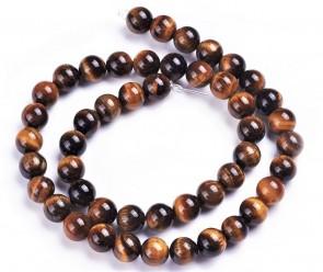 Tigerauge-Perlen, Edelsteinperlen, 8mm, rund, gelb-braun, 1 Perlenstrang