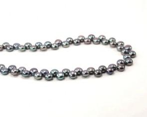 Süsswasserperlen, Zuchtperlen AA, Button, peacock, 6 - 7 mm, 1 Perlenstrang