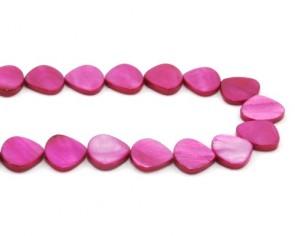 Perlmutt-Perlen, Tropfen, fuchsia pink, 15 x 14 mm, 1 Perlenstrang