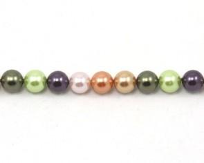 Muschelkern-Perlen, rund, herbstlich bunt, 8 mm, 1 Perlenstrang
