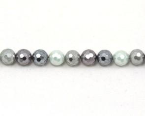 Muschelkern-Perlen, rund facettiert, silber-grau-violett, 8mm, 1 Perlenstrang