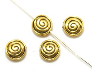 Metallperlen, Spacer Perlen 8mm, Scheibe Spirale, antik gold, 20 Stk.