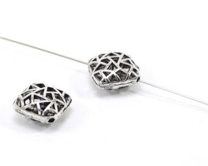 Tibetsilber Metallperlen, eckig 17mm, antik silber, Karo-Kissen, 4 Perlen