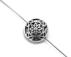 Metallperlen, 17mm, Linse Blumen, antik silberfarbig, 4 Perlen