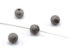 Metallperlen, Stardust-Perlen, 12mm, dunkelgrau / schwarz, rund, 10 Perlen