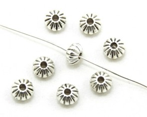Metallperlen, Spacer Perlen, Blumen-Rondellen, antik silberfarbig, 8 mm, 20 Stk.