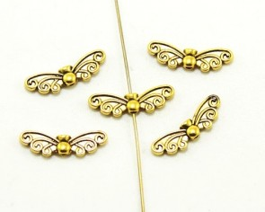 Metallperlen, Engelsflügel, antik goldfarbig, 22x7mm, 20 Perlen