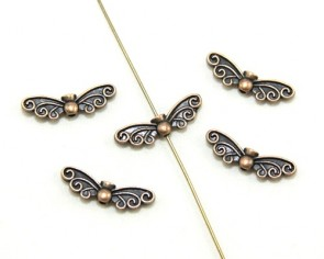 Metallperlen Engelsflügel Feenflügel antik kupfer, 22x7mm, 20 Perlen
