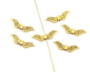 Metallperlen, Engelsflügel Perlen, antik gold, 22 x 6 mm, 20 Flügelperlen