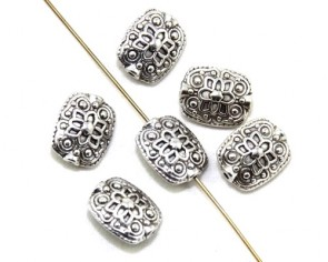 Metallperlen, Spacer, 13 x 11 mm, rechteckiges Kissen, indische Blume, antik silberfarbig, 10 Perlen