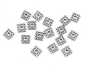 Metallperlen, Zwischenteile, 7 mm, flach quadratisch, antik silberfarbig, 50 Spacer Perlen