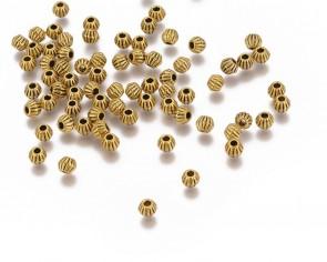 Metallperlen, Spacer Perlen, 4mm, Bicones gerillt, antik goldfarbig